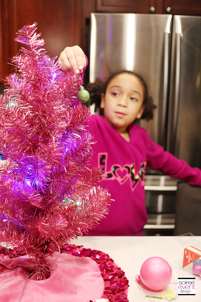 Decorating Mini Trees with ornaments