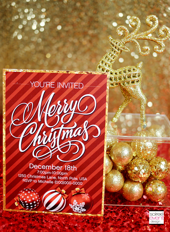 Free Gold and Red Christmas Party Invitations