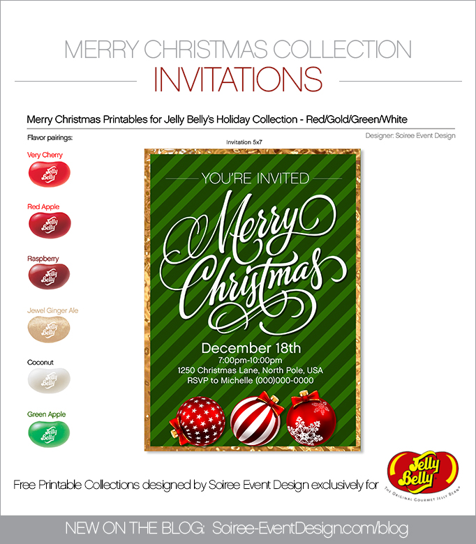 Free Merry Christmas Printable Invitations GREEN