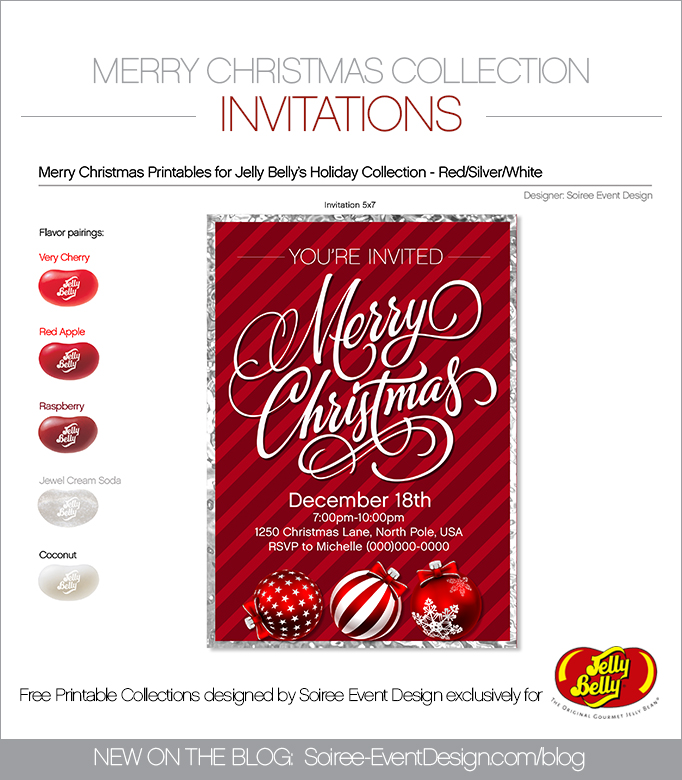 Free Merry Christmas Printable Invitations SILVER