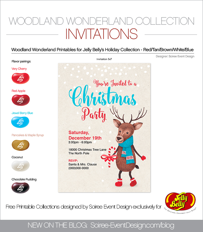 Free Woodland Wonderland Printable Invitations BLUE
