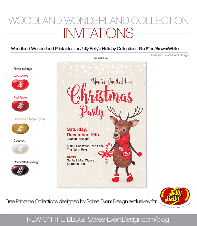 Free Woodland Wonderland Printable Invitations RED