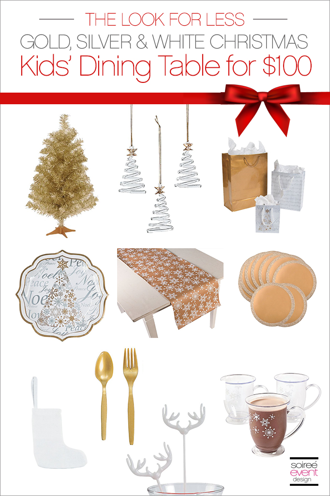 Gold Silver and White Kids Christmas Dining Table