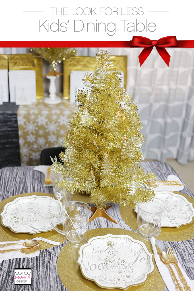Gold Silver and White Kid's Christmas Dining Table