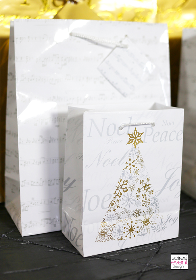 Gold White and Silver Gift Bags