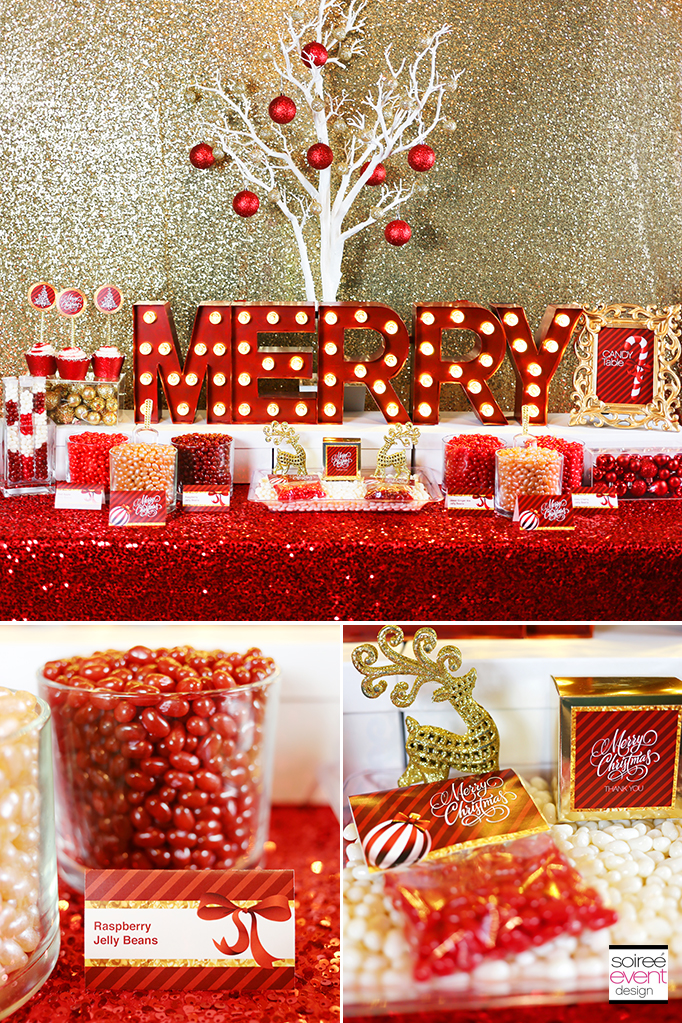 Gold and Red Christmas Candy Table