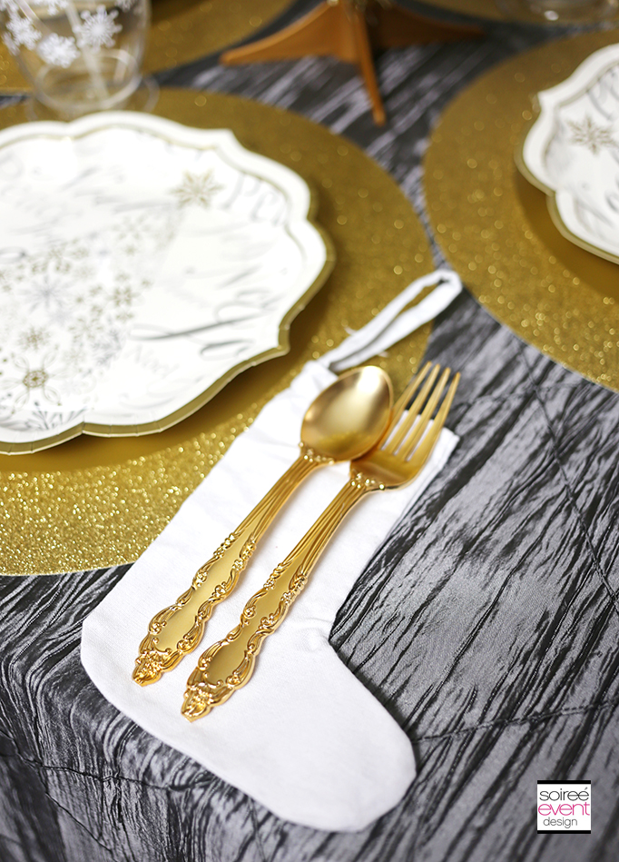 Gold plastic utensils