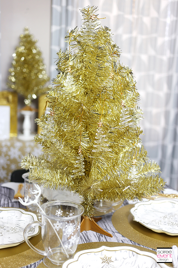 Gold tinsel Christmas tree