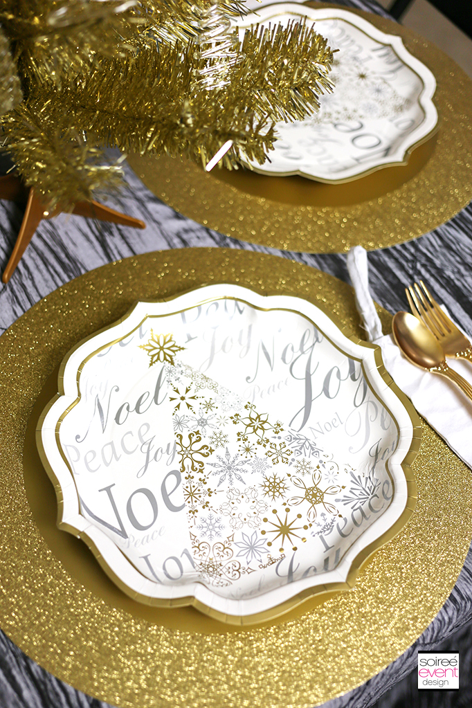 Gold white and silver Christmas paper plates 2