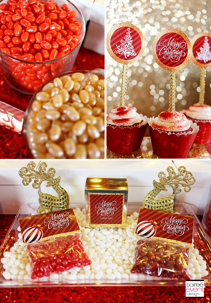 Red Gold and White Christmas Candy Buffet