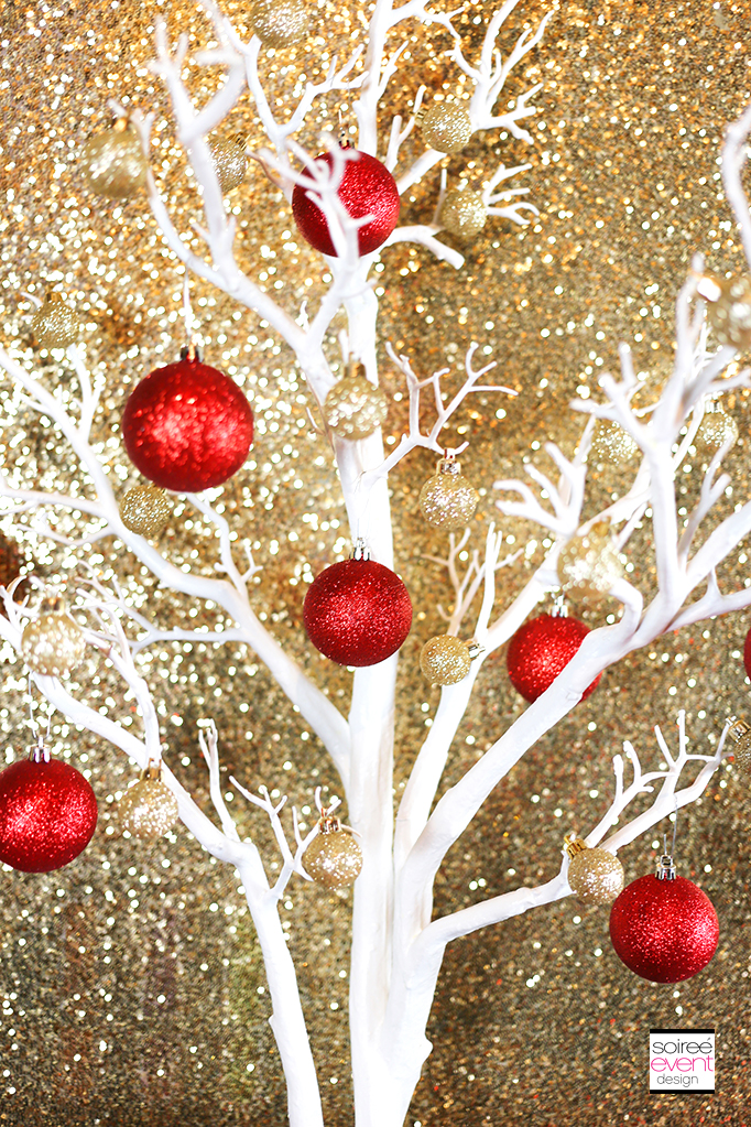 Red Gold and White Christmas decorations