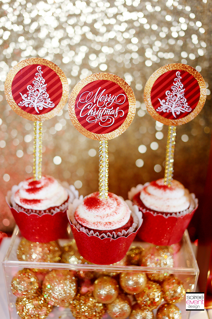 Red and Gold Christmas Cupcake Toppers