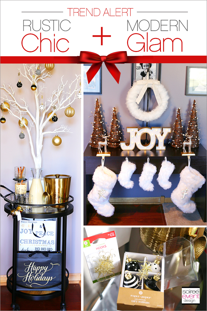 how to mix and match decor for a rustic chic and modern glam christmas soiree event design. Black Bedroom Furniture Sets. Home Design Ideas