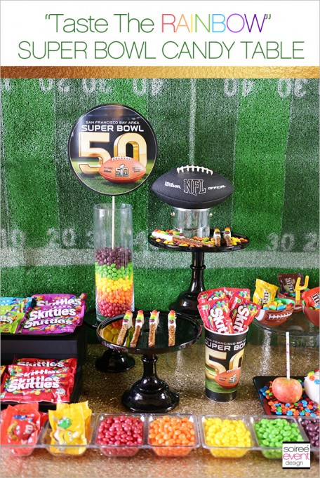 "Skittles ""Taste The Rainbow"" Super Bowl 50 Party Candy Table"