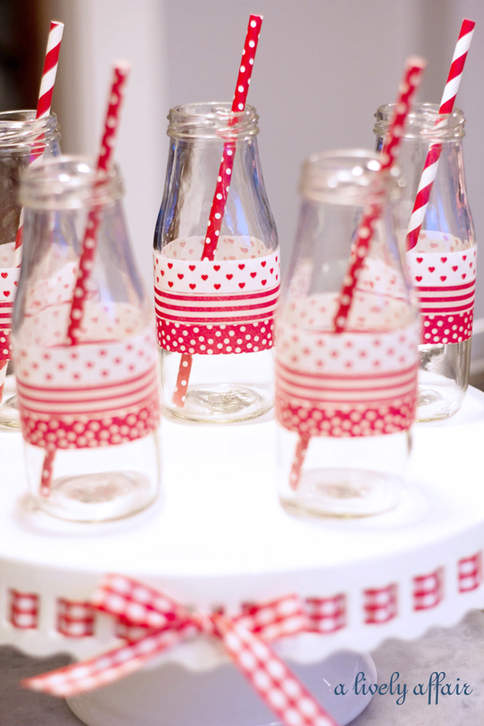 red and white milk bottles