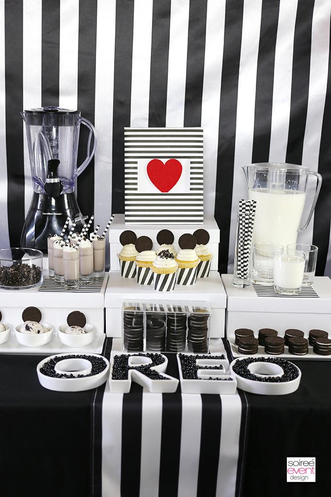 Black and White Stripes Dessert Table
