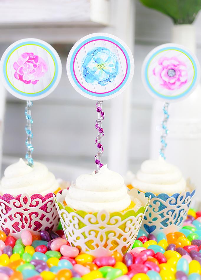 Flower Garden Cupcake Toppers