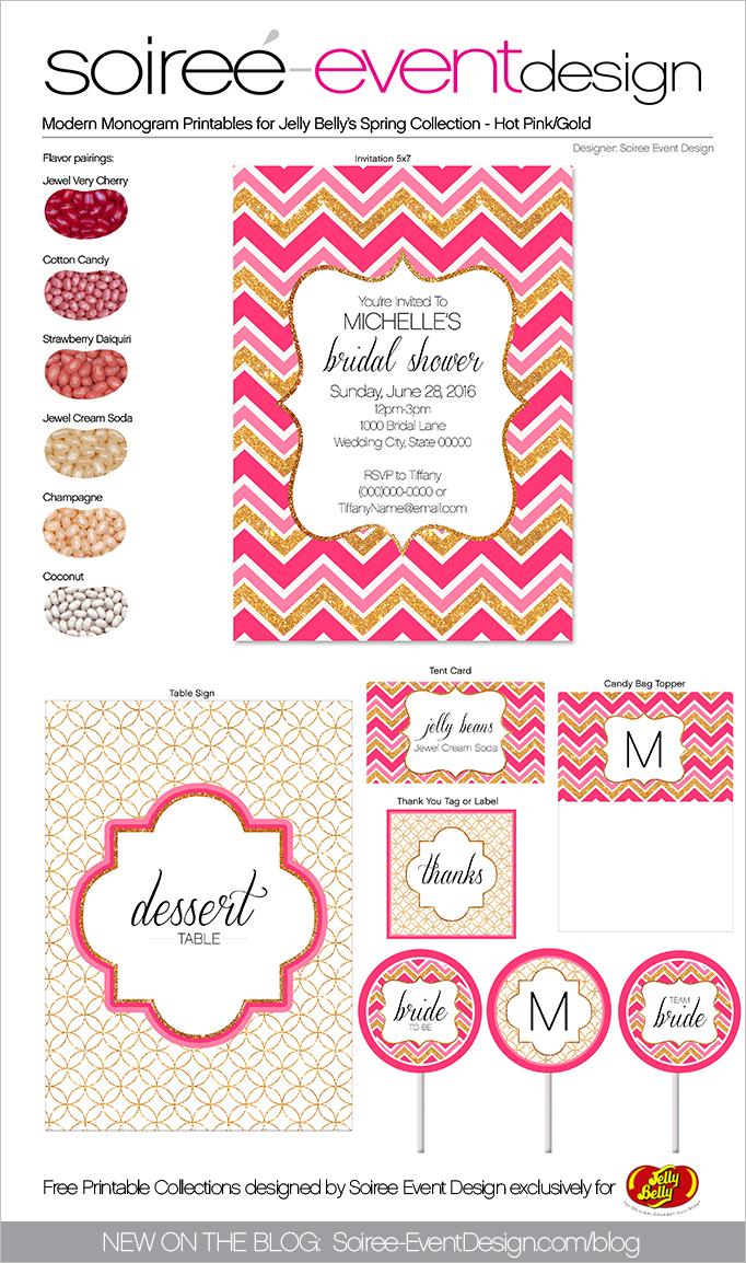 Free Spring Printables Modern Monogram-Gold-Hot-Pink