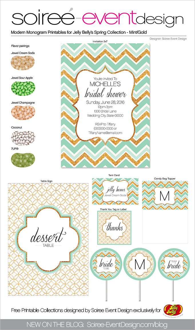 Free Spring Printables Modern Monogram-Gold-Mint