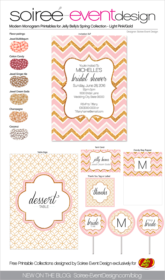 Free Spring Printables Modern Monogram-Gold-Soft-Pink