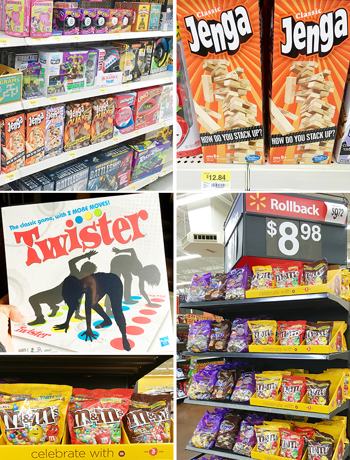 Jenga Twister and M&Ms in Walmart