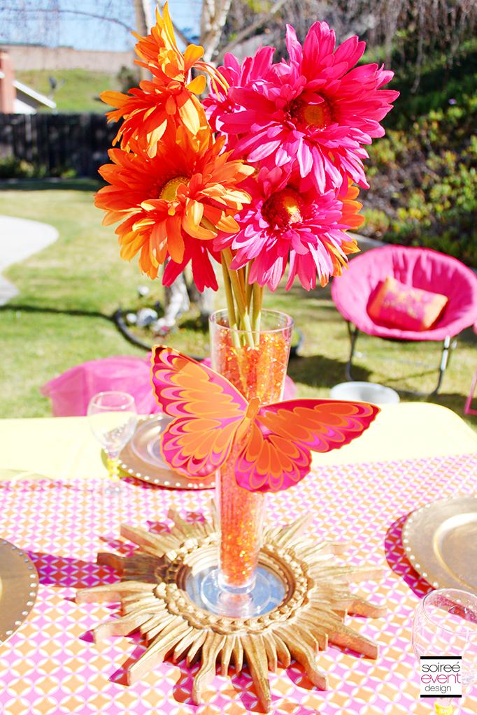 Gold Pink and Orange Centerpiece