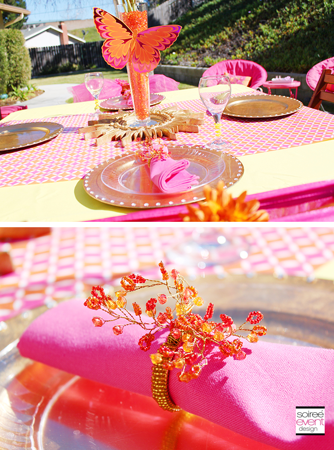 Pink and Gold and Orange Dining Table
