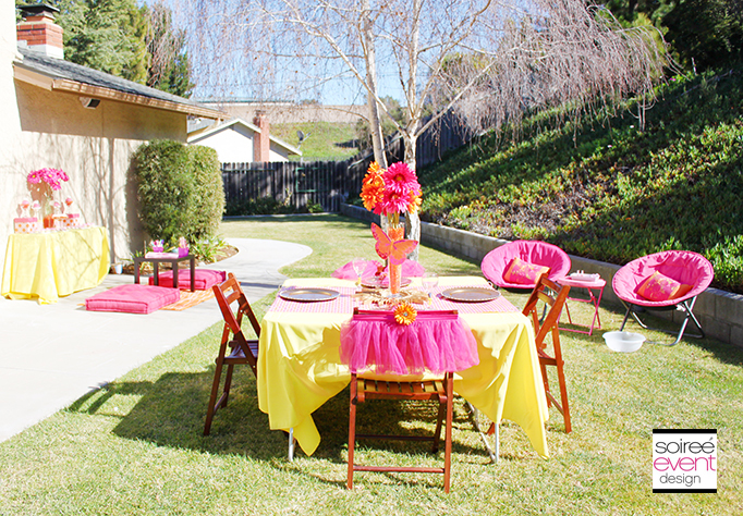 Pink orange and gold party decorations