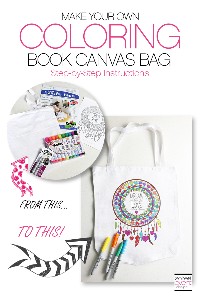 How To Make A Book Bag : How to make a coloring book canvas bag soiree event design