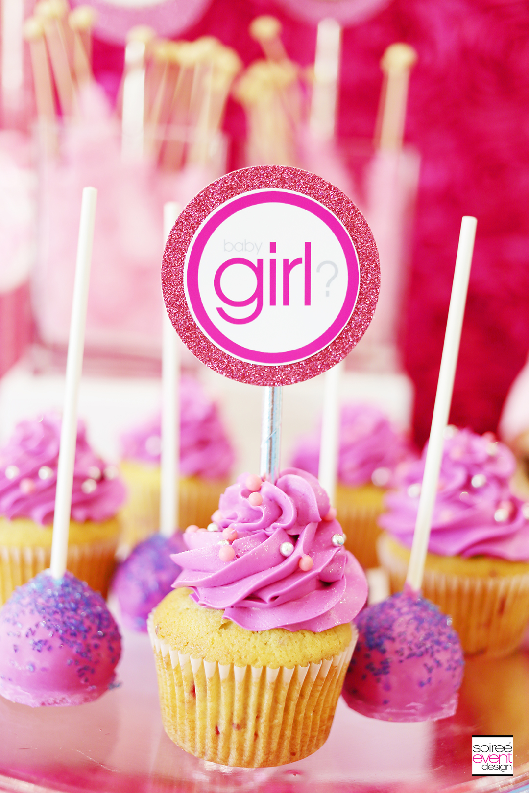 Gender Reveal Party Cupcake Toppers - Girl