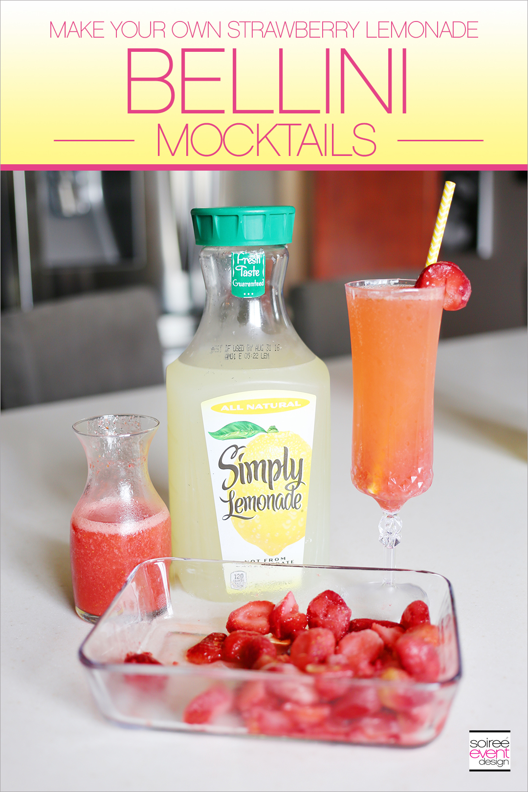 Strawberry Lemonade Bellini Mocktails