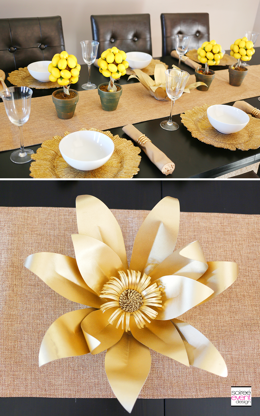 Summer Dinner Party - Gold Paper Flowers