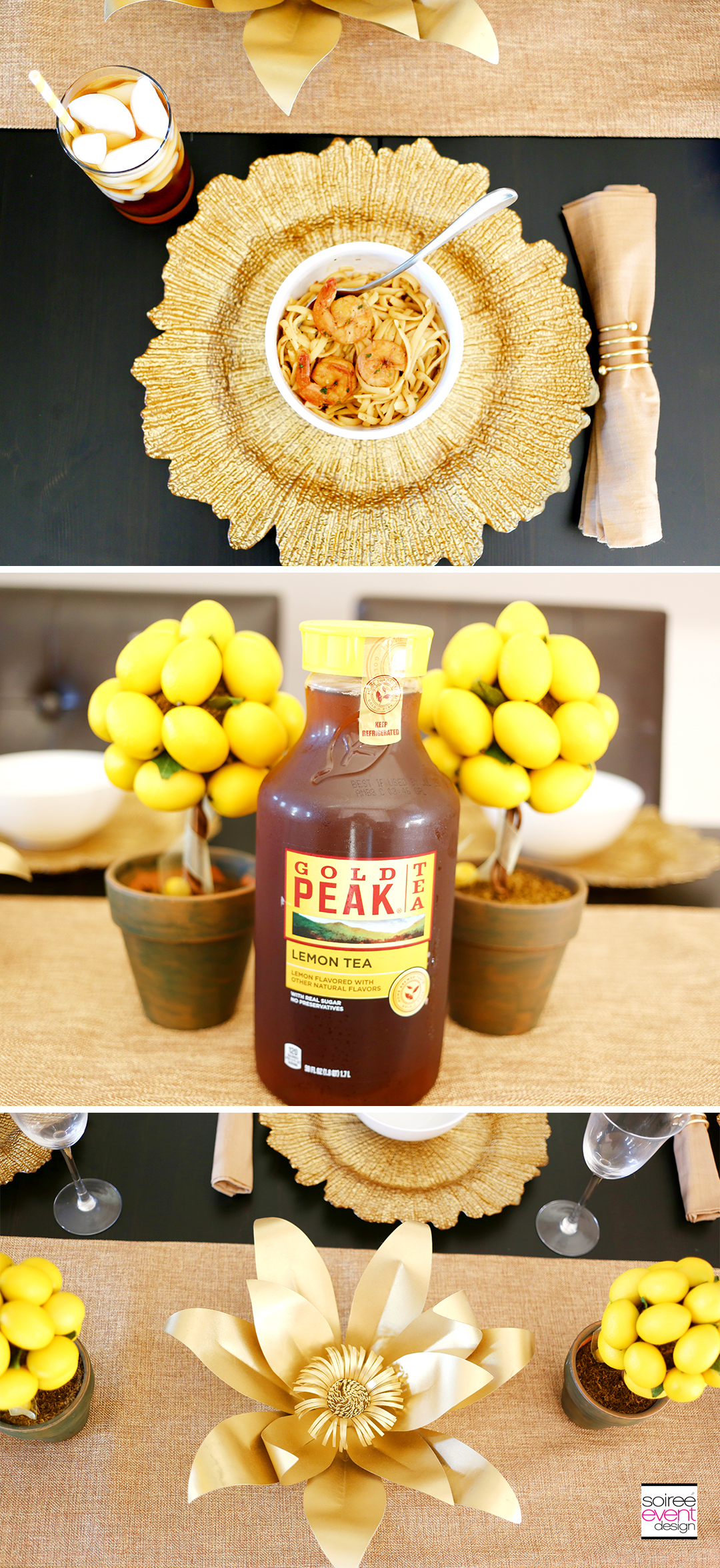 Summer Dinner Party - Gold Tablescape