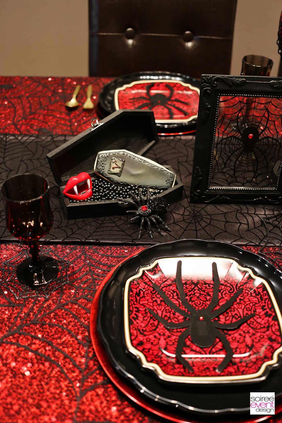 Halloween Dinner Party Table 3 Ways Black Widow Spider