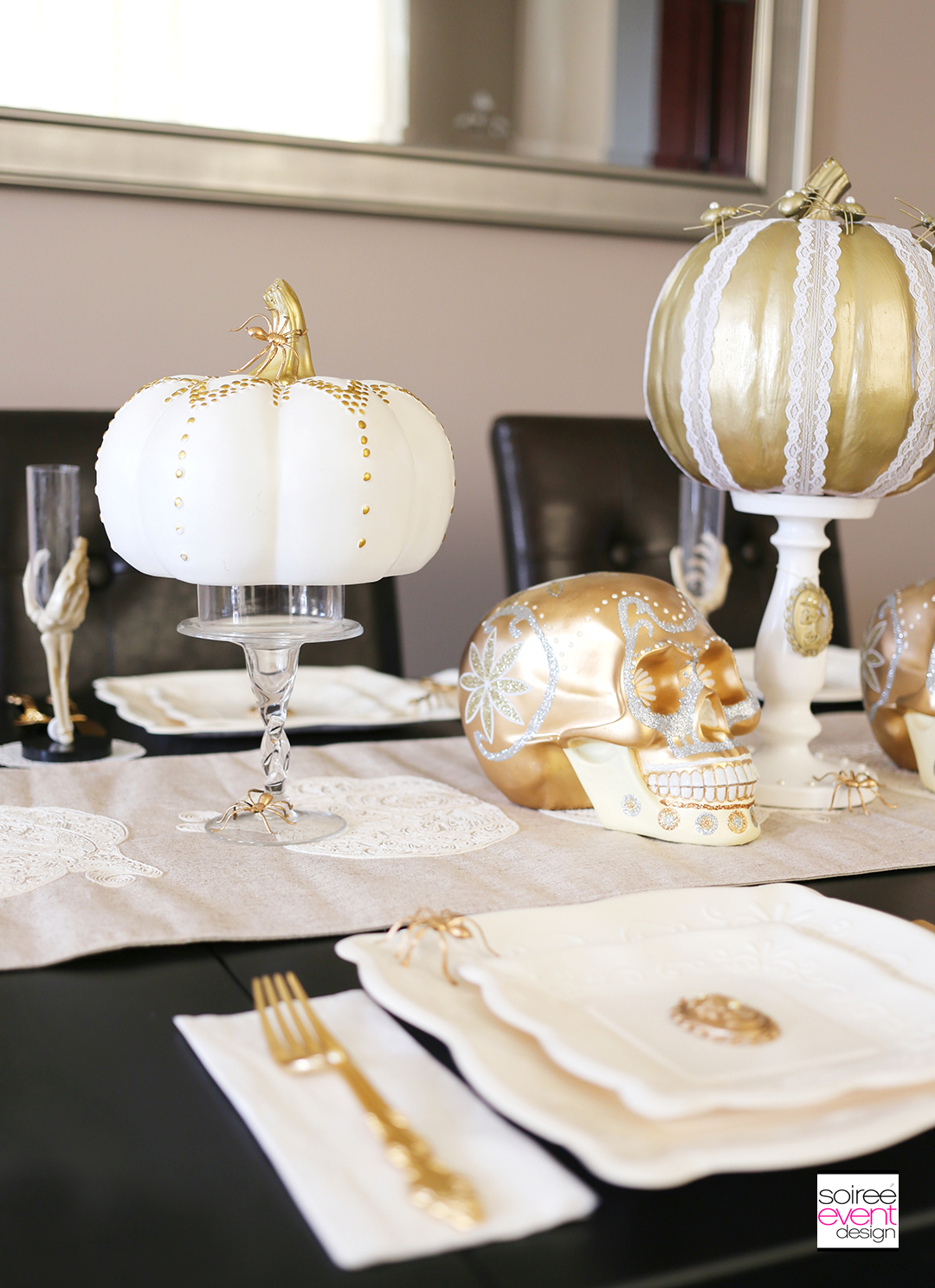 gold-and-white-halloween-dining-table