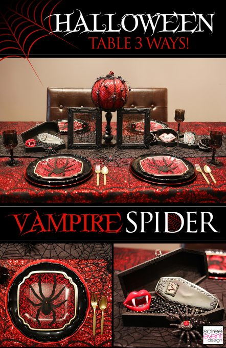 Halloween Dinner Party Table 3 Ways – Black Widow Spider Theme!