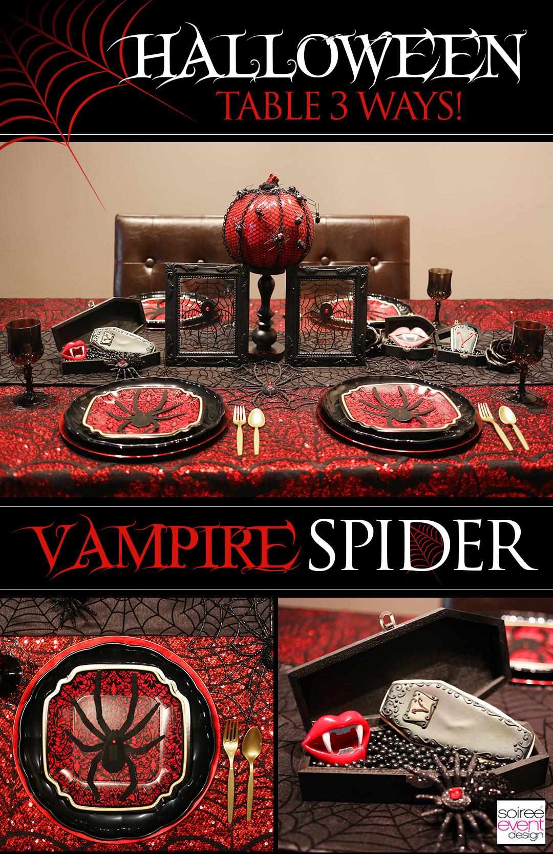 Halloween Dinner Party Table 3 Ways Black Widow Spider