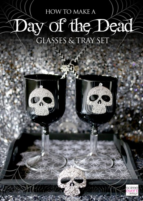 DIY Day of the Dead Halloween Glasses and Tray Set
