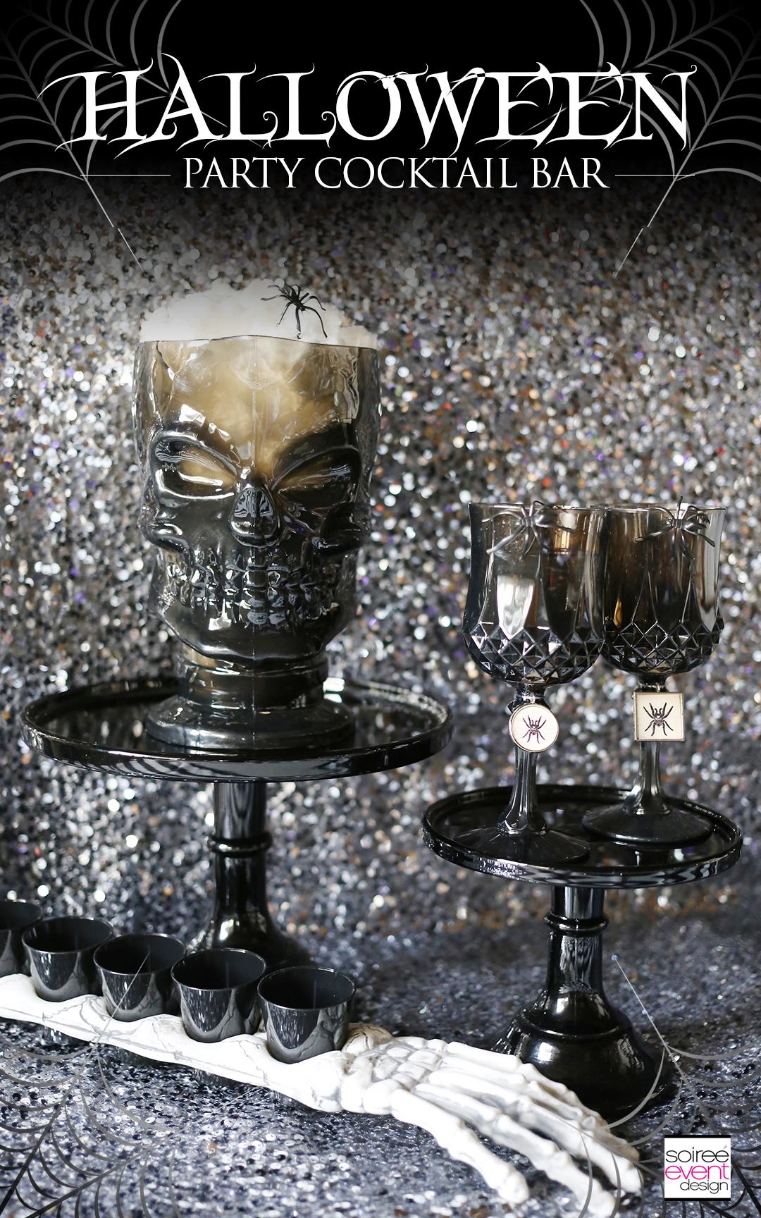 Halloween party cocktail bar, Halloween cocktails, halloween wine glasses
