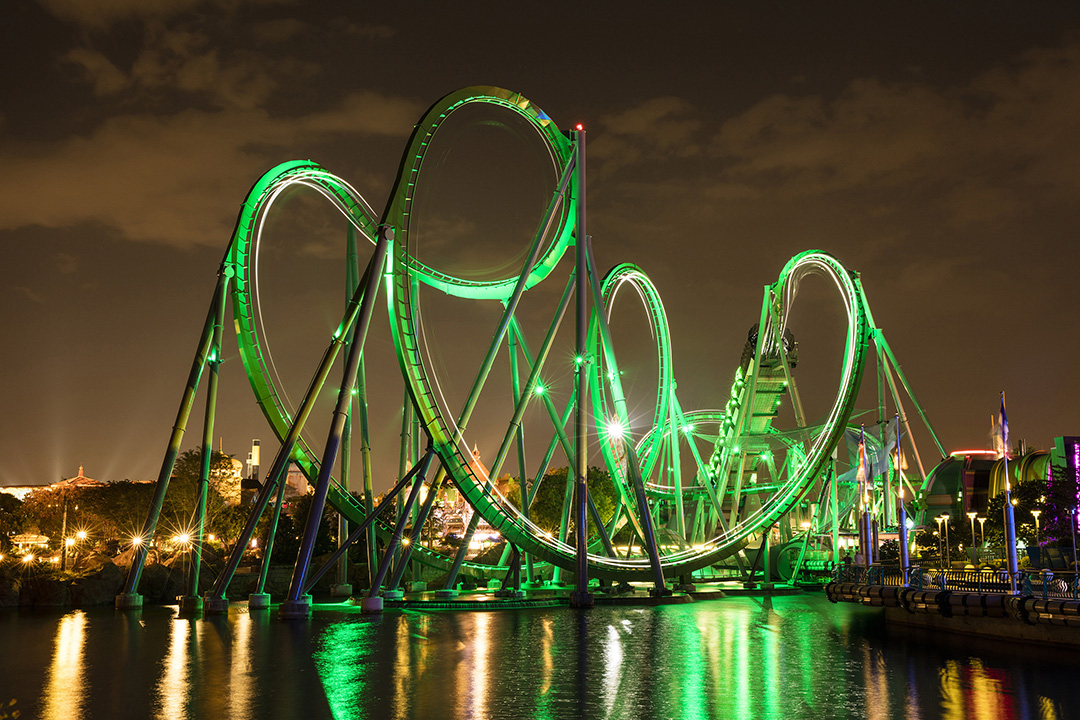 The Incredible Hulk Coaster now features thrilling new enhancements that make one of the world's best roller coasters even more incredible. Enhancements include a brand-new ride vehicle, a new, original storyline and completely redesigned queue experience, and an all-new onboard ride score produced by Patrick Stump, front man for the internationally-renowned rock band, Fall Out Boy. For more information, check out the official Universal Orlando blog at blog.UniversalOrlando.com.