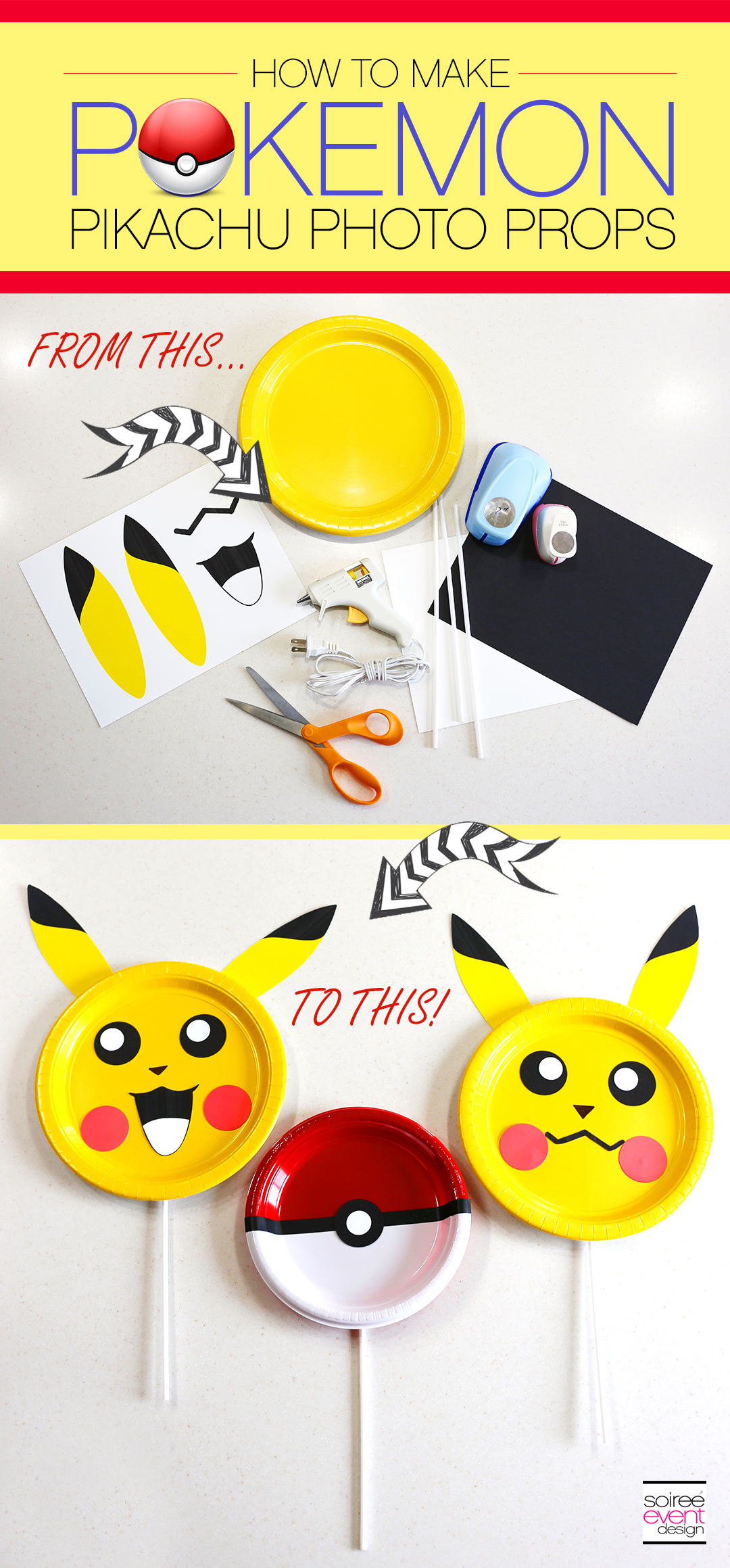 DIY Pokemon Pikachu Photo Prop Sticks
