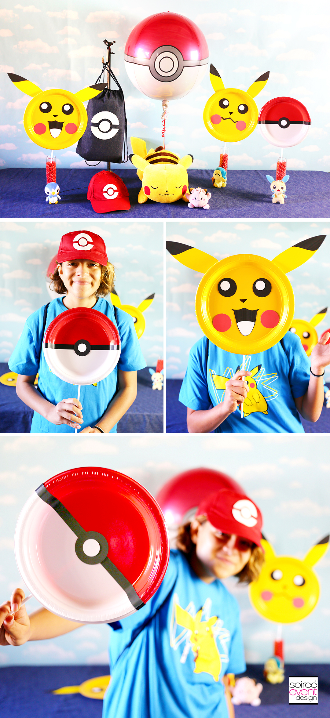 Pokemon Party Photo Props, Pokemon Party, Pikachu Photo Props