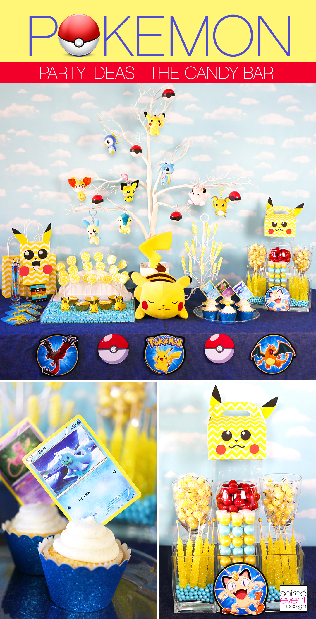 Pokemon Party Ideas, Pokemon Candy Bar, Pokemon Candy Table, Pokemon Party Decorations