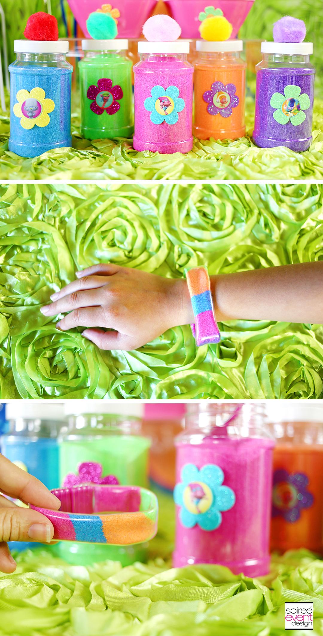 Trolls Party Crafts Rainbow Sand Bracelets