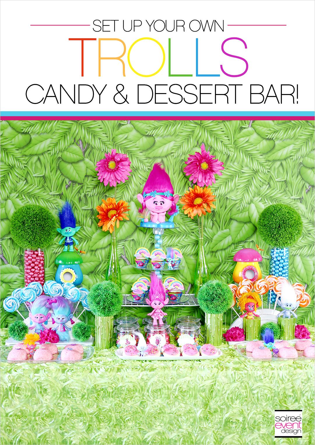 Trolls Party Ideas, Trolls Party Candy Buffet, Trolls Party Dessert Table