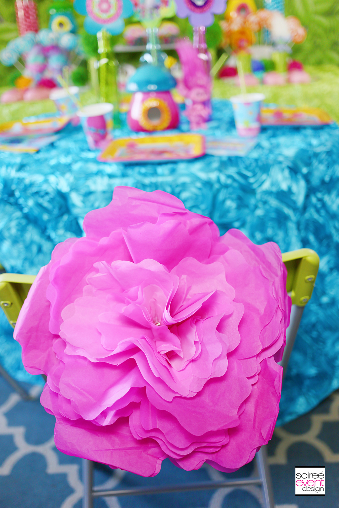 Trolls Party Ideas - Paper Flower Chairbacker
