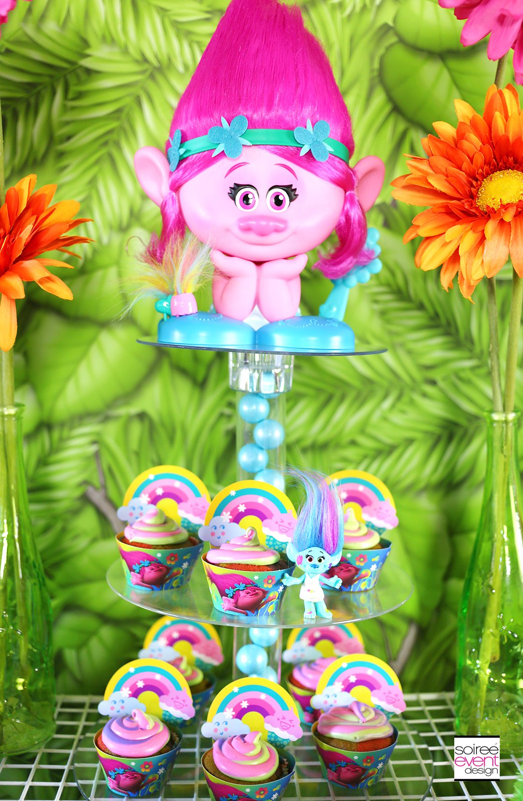 Trolls party ideas - Trolls Cupcake Stand