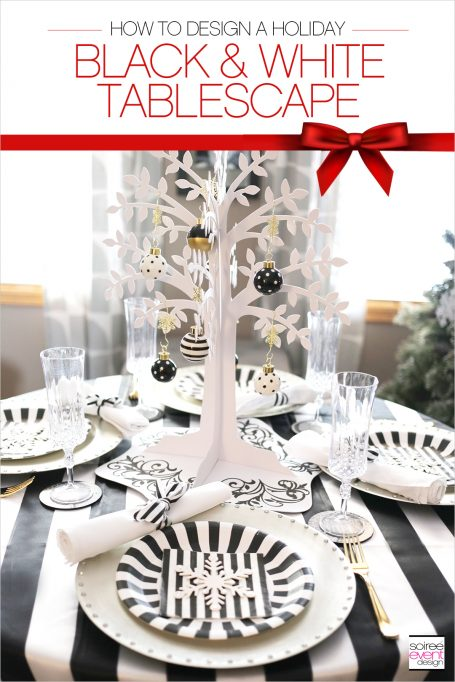 Design a Stylish & Affordable Black and White Christmas Tablescape!