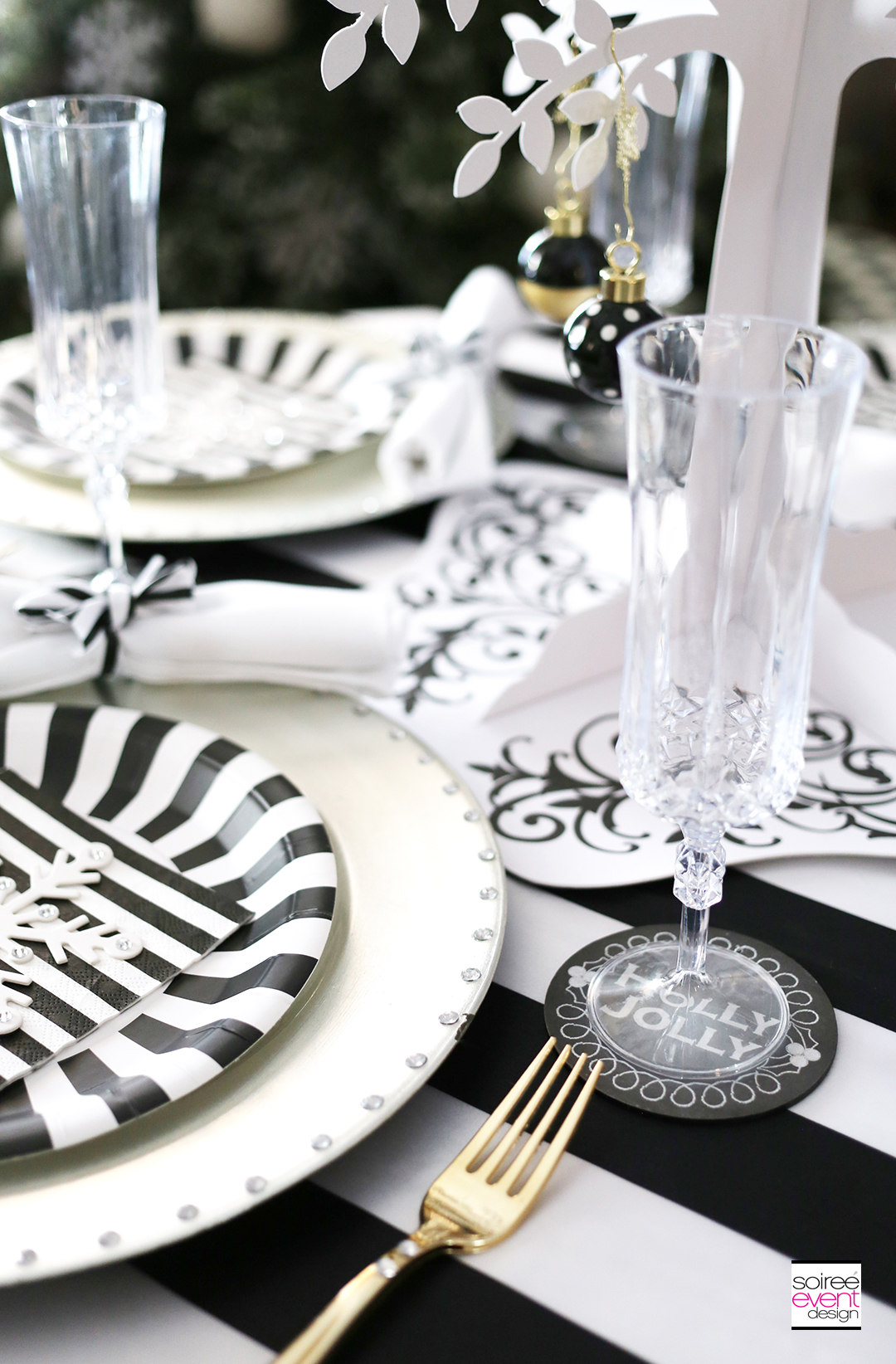 Black and white Christmas Tablescape 2