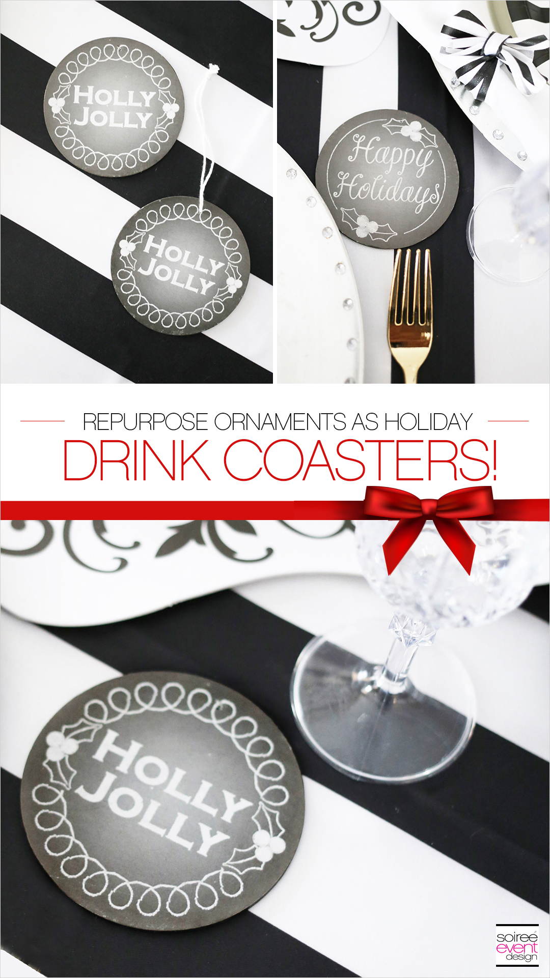 Black and white Christmas Tablescape - Holiday drink coasters